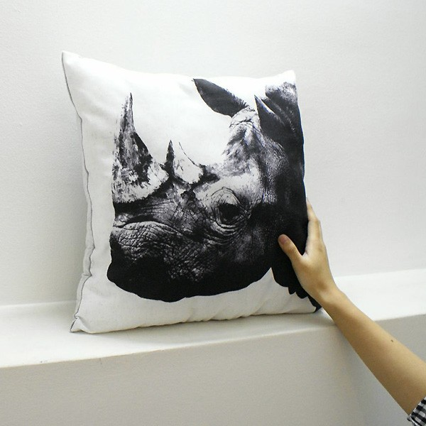 Animal side face for Cushion White rhinoceros(シロサイ・クッション)