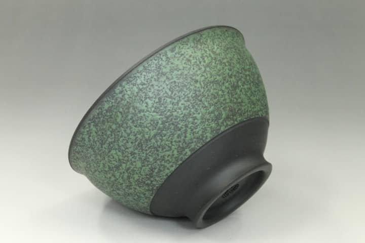 常滑焼黒泥モッコ形緑中帯急須二客セット