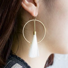 SASAI<br /> White Tassel Hoop Earrings