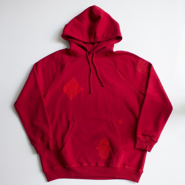 ADISH / ADISH X JORDAN NASSAR MIX EMBROIDERIES HOODIE- DARK RED
