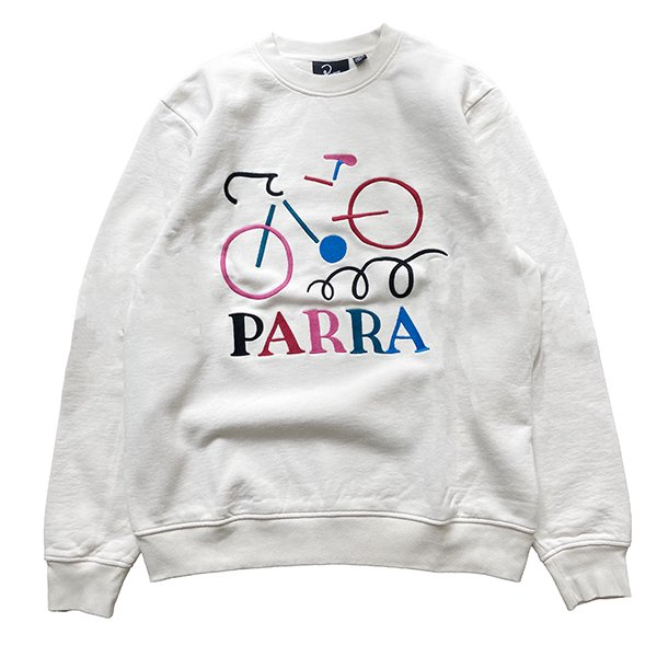 <img class='new_mark_img1' src='//img.shop-pro.jp/img/new/icons8.gif' style='border:none;display:inline;margin:0px;padding:0px;width:auto;' />Parra パラ / broken bike crew neck sweatshirt