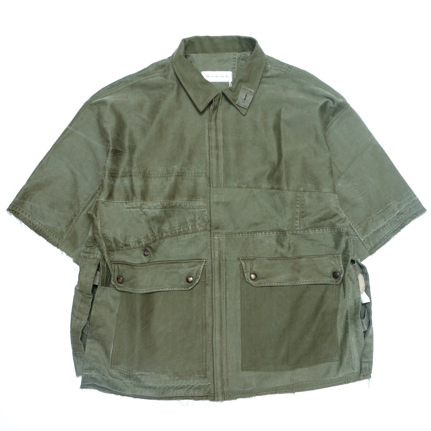 <img class='new_mark_img1' src='https://img.shop-pro.jp/img/new/icons8.gif' style='border:none;display:inline;margin:0px;padding:0px;width:auto;' />Remake by Yi / Remake Shortsleeve Shirts (French Army M-64 Field Parka - 1965s)