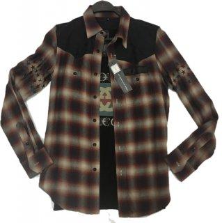 PLAYERS国産レザー&ジャガードカモ切り替えレーヨンチェックシャツ#芹野莉奈ちゃん着用