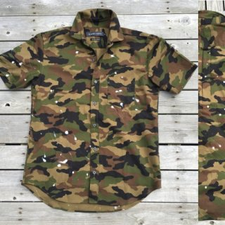 PLAYERSTOKYO 国産ペイントカモフラ半袖シャツ