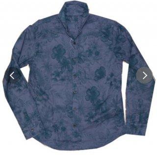 PLAYERSTOKYO 国産オーバダイ花柄ホリゾンタルカラーシャツ