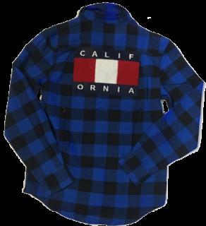 PLAYERSTOKYO ザガラワッペンチェックシャツ青