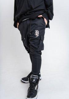 PLAYERS Psロゴ刺繍  ポリツイル 裾リブ サルエル ジョガー カーゴパンツ ユニセックス