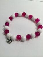 NOCROSSINGみぽちコラボ記念クラウンン数珠ブレス白×ピンク