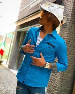 NOCROSSINGBYBONDS グレンチェック切り替えブルーシャツ