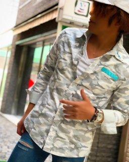 NOCROSSINGbyBONDS白迷彩ミリタリーパッチシャツ