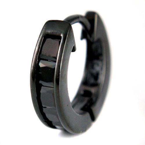 AZZURRO/アズーロ  スクエア キュービックジルコニア フープピアス ブラック チタン メンズ プレゼント AZ52-BLK