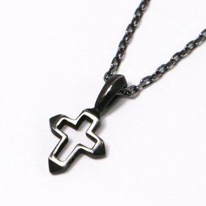 amp japan/アンプジャパン ネックレス クロス メンズ シルバー 十字架 925 ヴィンテージ ブラック 燻し加工 プレゼント HYJK-133SV