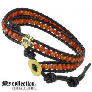 M's collection/エムズコレクション ブレスレット カーネリアン レザー 真鍮 ライオン クラウン 2連 メンズ M0468OX