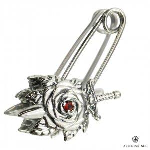 アルテミスキングス ARTEMISKINGS 薔薇セーフティピン ピアス ブローチ 天然石 ガーネット 剣 片耳 大きめ AKEX0002