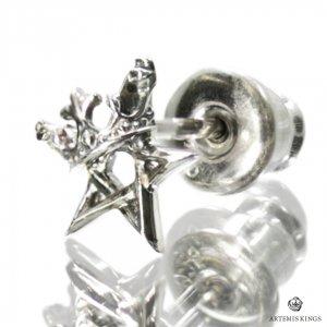 アルテミスキングス ARTEMISKINGS 王冠五芒星ピアス スタッド 星 片耳 小さ目 AKE0102
