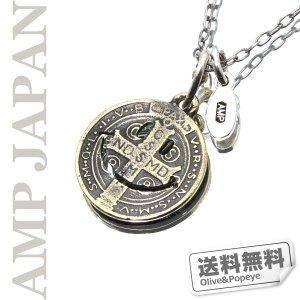amp japan/アンプジャパン ブラス&シルバー/スマイルコインネックレス 11AD-890
