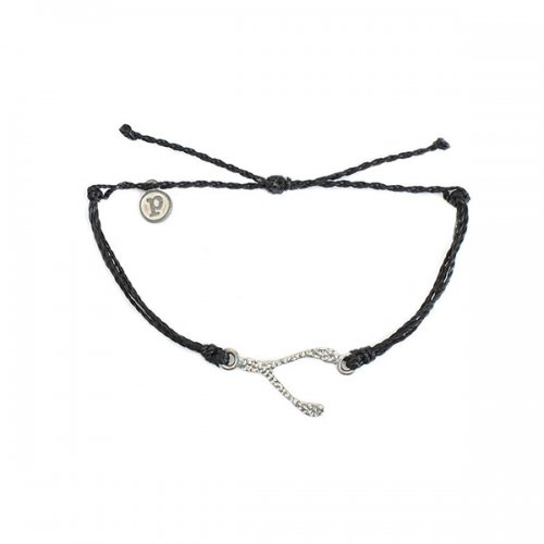 Pura Vida(プラ・ヴィダ)【ブレスレット】-Silver Hammered Wishbone Black-