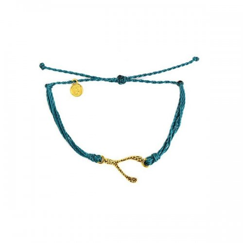 Pura Vida(プラ・ヴィダ)【ブレスレット】-Gold Hammered Wishbone Mediterranean Green-
