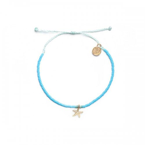 Pura Vida(プラ・ヴィダ)【アンクレット】-Gold 3D Bitty Starfish Seafoam Anklet-