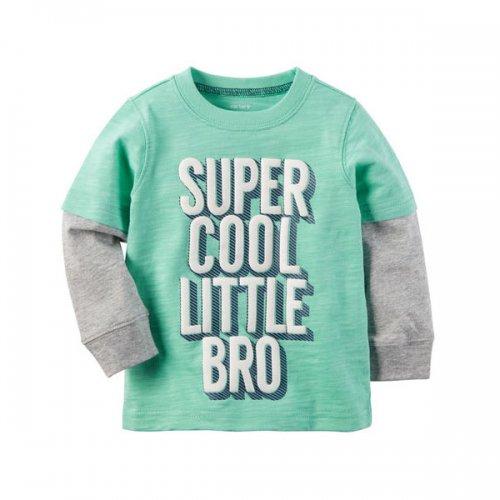Carter's/カーターズ本物正規品!トドラーボーイ【ロングTシャツ】-Long-Sleeve Layered-Look Cool Little Bro Graphic Tee-