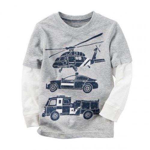 Carter's/カーターズ本物正規品!トドラーボーイ【ロングTシャツ】-Long-Sleeve Layered-Look Rescue Car Graphic Tee-