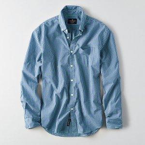 American Eagle Outfitters/アメリカンイーグル本物正規品!メンズ/シャツ-AEO GINGHAM POPLIN SHIRT-
