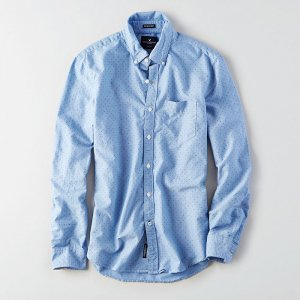 American Eagle Outfitters/アメリカンイーグル本物正規品!メンズ/シャツ-AEO PRINT OXFORD SHIRT-