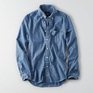 American Eagle Outfitters/アメリカンイーグル本物正規品!メンズ/シャツ-AEO PRINT CHAMBRAY SHIRT-