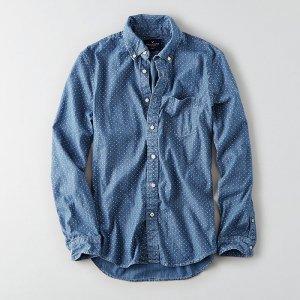 American Eagle Outfitters/アメリカンイーグル本物正規品!メンズ/シャツ-AEO PRINT CHAMBRAY SHIRT-