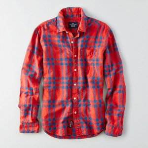 American Eagle Outfitters/アメリカンイーグル本物正規品!メンズ/シャツ-AEO COTTON LINEN PATTERN SHIRT-