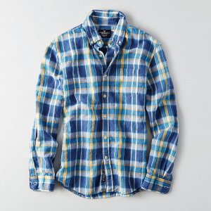 """American Eagle Outfitters/アメリカンイーグル""""メンズ""""-AEO PLAID LINEN COTTON SHIRT-"""
