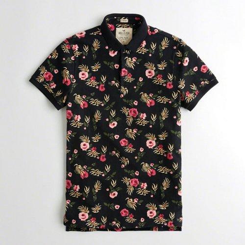 ホリスター本物正規品!メンズ【ポロシャツ】-Stretch Floral Polo-