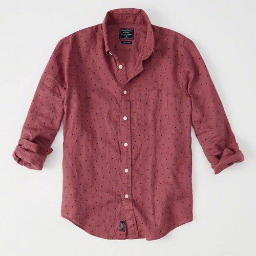 アバクロ本物正規品!メンズ【シャツ】-Linen Shirt-