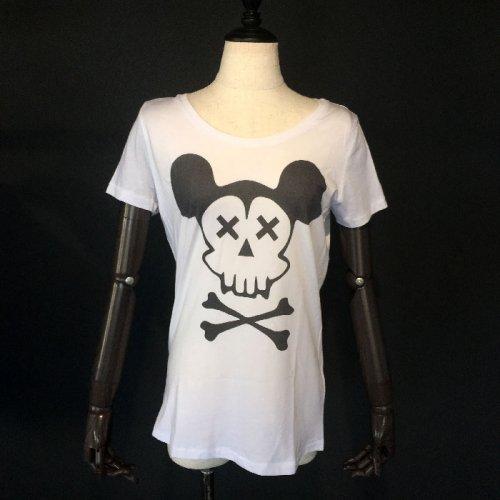 NO COMMENT PARIS/ノーコメントパリ!レディース【Tシャツ】-mickey-skull-