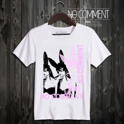 NO COMMENT PARIS/ノーコメントパリ!メンズ【Tシャツ】-bunny pink-