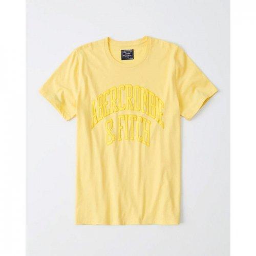 アバクロ本物正規品!メンズ【Tシャツ】-Short-Sleeve Flock Logo Tee-
