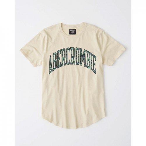 アバクロ本物正規品!メンズ【Tシャツ】-Curved Hem Logo Tee-