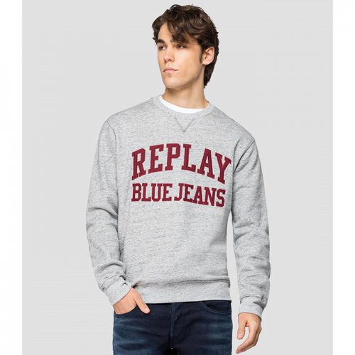 "REPLAY/リプレイ""メンズ""-SWEATSHIRT WITH REPLAY BLUE JEANS EMBROIDERY-"