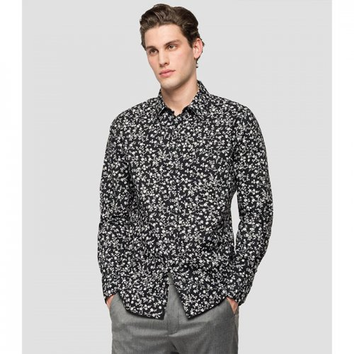 """REPLAY/リプレイ""""メンズ""""-POPLIN SHIRT WITH ALL-OVER PRINT-"""