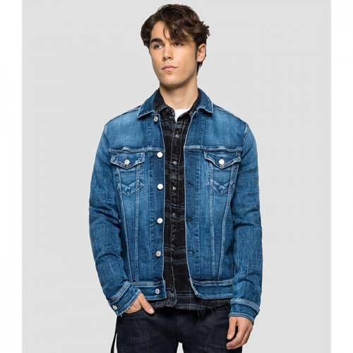 """REPLAY/リプレイ""""メンズ""""-REGULAR FIT JACKET IN AGED 5 YEARS SUSTAINABLE DENIM-"""