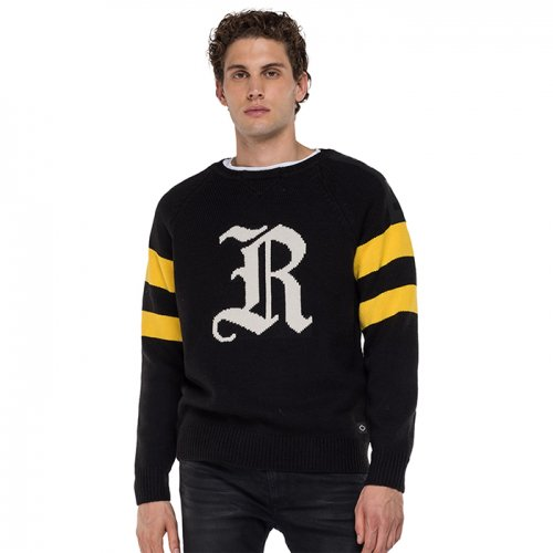 "REPLAY/リプレイ""メンズ""-CREWNECK PULLOVER WITH JACQUARD PATTERN-"