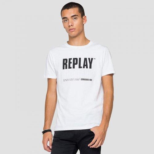 "REPLAY/リプレイ""メンズ""-REPLAY BLUE JEANS ESTABLISHED 1981 PRINT T-SHIRT-"