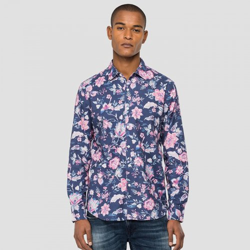 REPLAY/リプレイ-FLORAL SHIRT IN DOBBY COTTON-