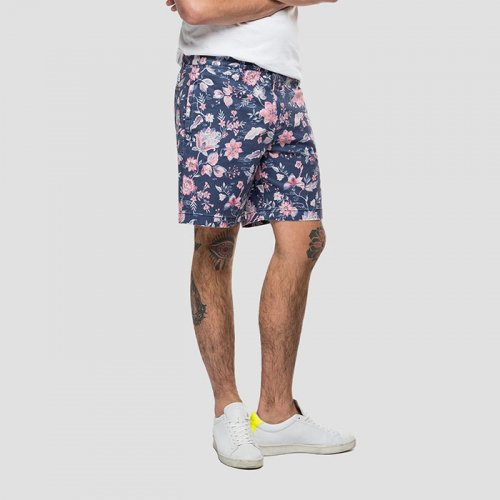 REPLAY/リプレイ-BERMUDA SHORTS IN FLORAL COTTON-