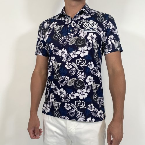 ZOY/ゾーイ-アロハコラージュプリント半袖ポロシャツ-