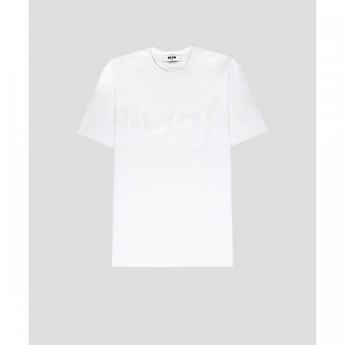 """MSGM/エムエスジーエム""""メンズ""""-CREW NECK T-SHIRT WITH PAINT BRUSHED LOGO MSGM-"""