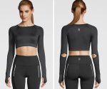 STRONG by Zumba Long Sleeve Cut Out Crop Top 2020夏2 ロングスリーブカットアウトクラップトップ/ブラック即納