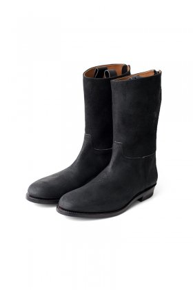 OLD JOE ★★★ EXCLUSIVE - OILED LEATHER RIDING BOOTS - BLACK ROUGHOUT