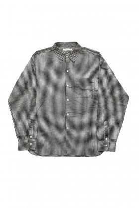 OLD JOE - SIMPLE SMALL COLLAR SHIRTS - BLACK × BEIGE