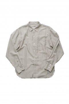 OLD JOE - SIMPLE SMALL COLLAR SHIRTS - KHAKI × WHITE